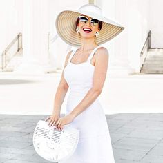 All white for Derby (Catherine Jung) Kentucky Derby Fashion, Kentucky Derby Outfit, Derby Day Fashion, Southern Belle Dress, Oaks Day, Derby Outfits, Derby Party, Fit And Flare, Nice Dresses