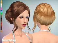 Hair 085 (pay) by yoyo at butterfly sims image 1301 sims 4 updates. Sims 4 Curly Hair, Sims Hair, Curly Hair Styles, Sims 4 Cc Skin, Sims Cc, Vintage Hairstyles, Bun Hairstyles, The Sims 4 Cabelos, Sims 4 Cc Makeup