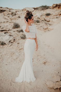 Bridal Separates, Wedding Separates, Two Piece Beach Wedding Dress, Bridal Gown Separates, Fishtail Wedding Dress, Simple Lace Wedding Dress. Beach wedding dress. Boho wedding dress. Dress: Luna Bride Photography: The Galaxies edge - Hair and make up: Lauren Buckley Model: bibiecoeur