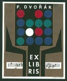 Jaroslav Kaiser (1919-?), Czech  / bookplate for  F. Dvorak ... includes bars of musical notes