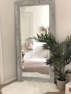 floor mirror in bedroom Full Length Mirror Rose Gold In 2019 Grey Bedroom Bedroom Corner, Room Ideas Bedroom, Home Decor Bedroom, Living Room Interior, Full Length Mirror In Bedroom, Full Length Mirrors, Big Mirrors, Big Bedroom Mirror, Bedroom Decor