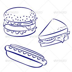 Fast Food Icons  #GraphicRiver         Fast food icons, black and white hand-drawn look: hamburger, hot-dog, cheese sandwich     Created: 17May12 GraphicsFilesIncluded: VectorEPS Layered: Yes MinimumAdobeCSVersion: CS Tags: americana #background #black #box #burger #cheese #clip-art #convenience #convenient #dog #drawing #drink #fast #food #french #fried #glass #graphic #grilled #hamburger #hand #hot #hot-dog #icon #illustration #ink #line #milk #pen #piece