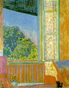 """Open Window - Pierre Bonnard - Created in 1921, the work was inspired by the view from the sitting room of """"Ma Roulotte"""", the painter's house at Vernonnet, in the Seine Valley. ...................#GT"""