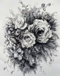 Charcoal Bouquet 1 Drawing by Heidi Shedlock Africa Drawing, Mark Making, Saatchi Art, Artworks, Charcoal, Bouquet, Bloom, Paintings, Ink