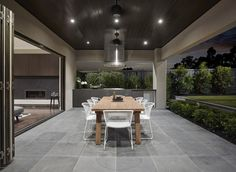 Outdoor Room With Grey Floor Tiles And Built In Bbq - outdoor-zimmer mit grauen bodenfliesen und bbq gebaut - - pièce extérieure avec des carreaux de sol gris et construit en barbecue - habitación al aire libre con baldosas grises y barbacoa incorporada Outdoor Kitchen Design, Patio Design, Home Design, Outdoor Bbq Kitchen, Design Ideas, Porch Tile, Patio Tiles, Outdoor Tiles Patio, Cement Patio