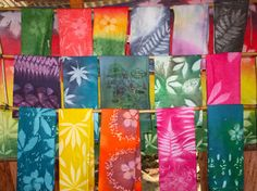 Handprinted Nature Embossed Cotton Textile Beach Sarong Pareo Made in Seychelles