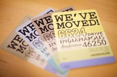 Very awesome moving announcement postcards - printed on paint chips!