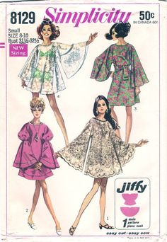 Simplicity 8129; ©1968; Simple-To-Sew Misses' Jiffy Dress in Two Lengths