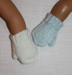 2 pairs hand knit doll mittens, 18 inch doll clothes, Upbeat Petites by UpbeatPetites on Etsy