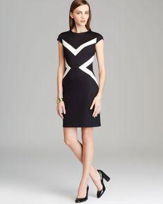 Women s Black Cap Sleeve Color Block Dress Elisabetta 0691d3e459