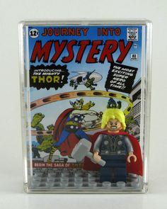 LEGO DC Marvel Superheroes Minifigure Display with figure - Thor - Avengers. $15.00, via Etsy.