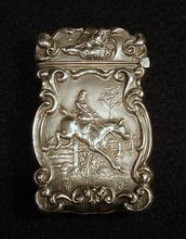 Antique Fox Hunt Equestrian Sterling Match Safe.. Woman Riding Horse Sidesaddle.. Fox Head