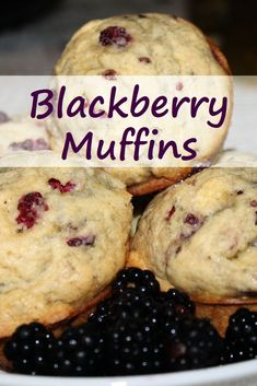 Blackberry muffins with fresh blackberries and local butter are a summer treat. Use fresh blackberries for the best results. Wild Blackberry Recipe, Blackberry Muffins Easy, Blackberry Dessert, Paleo Muffin Recipes, Banana Recipes, Pie Dessert, Dessert Recipes, Desserts, My Favorite Food