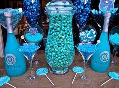 Pink and Blue Candy Buffet Blue Candy Buffet, Candy Table, Dessert Buffet, Dessert Bars, Dessert Tables, Blue Popcorn, Blue Party Decorations, Dessert Bar Wedding, Cyan