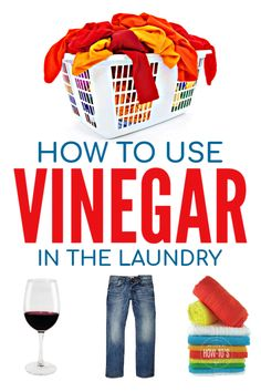 How to Use Vinegar in Laundry - Remove wine stains, soften fabrics, kill mildew and disinfect without bleach. Deep Cleaning Tips, Cleaning Recipes, House Cleaning Tips, Natural Cleaning Products, Cleaning Hacks, Doing Laundry, Laundry Hacks, Laundry Room, Vinegar In Laundry