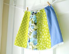 CLEARANCE Girls Picnic Skirt - size 7 - Lime & Blue Patchwork Skirt- Children Spring Fashion-  Recycled Floral- LAST ONE