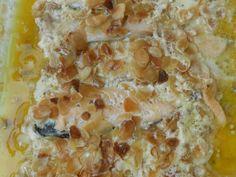 truite, amande, crème liquide, ail, Huile d'olive