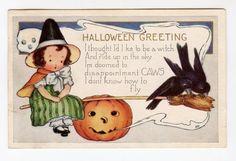 halloween, vintage halloween postcard, ghost, little girl witch, crows, jack o'lantern