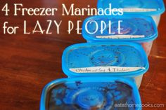 '4 Freezer Marinades for LAZY PEOPLE!'  My husband is going to LOVE these because he LOVES to use marinades when cooking, especially grilling!