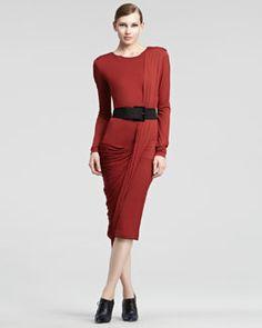 B1UJB Donna Karan Luster Jersey Long-Sleeve Dress