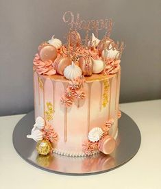 This peachy drip cake is just stunning! With perfectly piped buttercream swirls, macarons and edible pearl droplets. Not forgetting the edible gold leaf flecks and pink glittering cake topper. We don& need an excuse to be extra! Birthday Drip Cake, Sweet 16 Birthday Cake, Elegant Birthday Cakes, 21st Birthday Cakes, Beautiful Birthday Cakes, Birthday Cakes For Women, Birthday Cake Decorating, Birthday Gifts, Glitter Birthday Cake