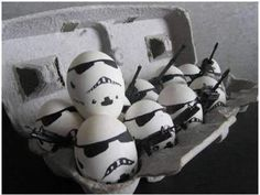 Storm Trooper Eggs - good Easter alternative.   (stacy) my little dude and bros would like this one