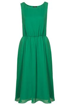 Topshop, Silk Cute Skirted Midi Dress in green, $120.  This would be a great special-occasion dress.  Looks comfy, classic -- and a great eye-catching color.