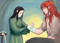 nevui-penim-miruvorrr: Little Elrond making his first attempt to be a healer, by helping Maedhros