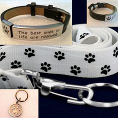Rescue Dog Cat Bracelet Paw Print Keychain & Lanyard Stainless Steel Gift Set #Buckle