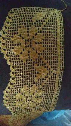 Crochet Borders, Filet Crochet, Crochet Patterns, Love Crochet, Doilies, Needlework, Diy And Crafts, Embroidery, Blanket