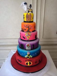 💗Amazing 9 tier Disney wedding cake 🧡💙💛🖤luv this Pretty Cakes, Cute Cakes, Beautiful Cakes, Amazing Cakes, Disney Desserts, Cute Desserts, Crazy Cakes, Fancy Cakes, Gateau Harry Potter
