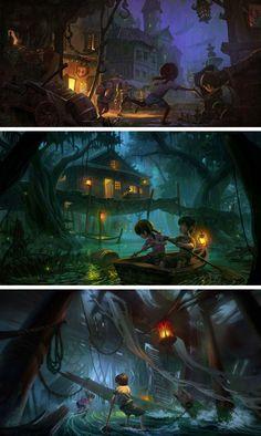 Disneyland Concept Art by Lin Bo