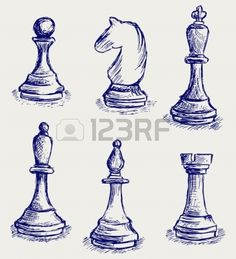 Vector images by the artist 'kreatiw'. Pencil Art, Pencil Drawings, Art Drawings, Knight Tattoo, Object Drawing, Horse Silhouette, Chess Pieces, Sketch Design, Drawing Sketches