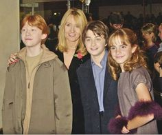 "Rupert Grint, JK Rowling, Daniel Radcliffe and Emma Watson at the 2001 UK premiere of ""Harry Potter And The Philosopher's Stone"""