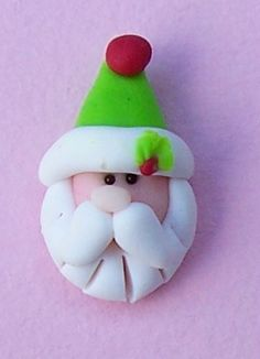 Green Hat Santa... polymer clay bead or hair by Smallwondersclay, $3.00
