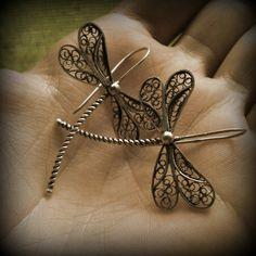 Silver filigree dragonfly earrings