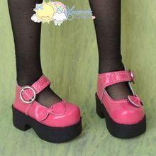Platform Heel Bow Mary Jane Shoes Patent Rose Pink for SD Girl Dollfie BJD Dolls