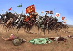 The cavalry charge that Richard, 'The Lion heart', and his knights made at the battle of Arsuf