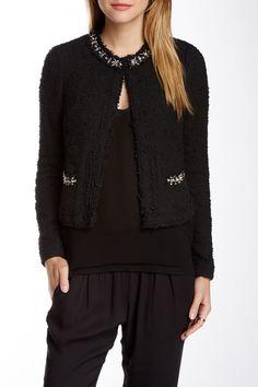 Embellished Tweed Silk Combo Jacket
