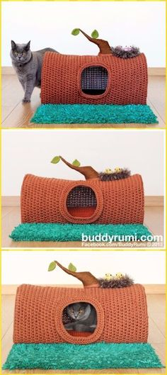 Crochet Tree Log Cat Cave House Paid Pattern - Crochet Cat House Patterns