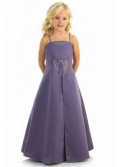 Cute A-line Spaghetti Straps Embroidered Satin Floor Length Junior Bridesmaid Dresses