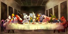 Image 424: arceus crossover darkrai dark_type dialga dragon_type electric_type fire_type flying_type ghost_type giratina groudon ground_type... (the last supper, pokemon addition)