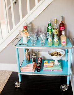 blue metal vintage bar cart, great idea for a vintage cart! great diy project to spruce it up!