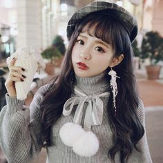 Princess sweet lolita student sweater BOBON21 Cherry lovely rabbit ball tie high density warm sweater T1429