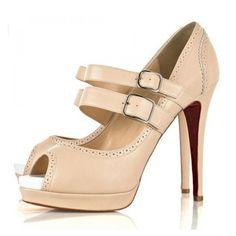 Louboutin Luly Mary Jane Zwei Strap Peep Toe Pumps Pink #redbottoms