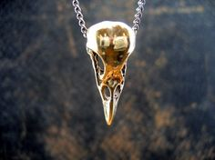 I'd pinned a bird skull pendant in silver or pewter before -- but I love this one in bronze with a contrasting colored gunmetal chain.  Gotta save up for this.  Love it!  #Etsy, $44