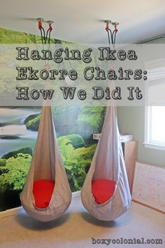 little things. - A couple of quick tips to make hanging your Ikea Ekorre chairs easier, faster, and stronger.A couple of quick tips to make hanging your Ikea Ekorre chairs easier, faster, and stronger. Toy Rooms, Kid Spaces, Kids Bedroom, Bedroom Ideas, Kids Playing, Room Decor, Projects, Kids Basement, Boys Playroom Ideas