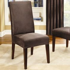 Sure Fit Stretch Leather Collection Short Dining Chair Slipcover Upholstery: Brown