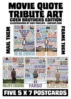 Coen Brothers Movie Quote Postcard Set- Five 5 x 7 Postcards