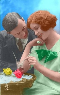 Couple with Soda Colorized by ~ajax1946 on deviantART